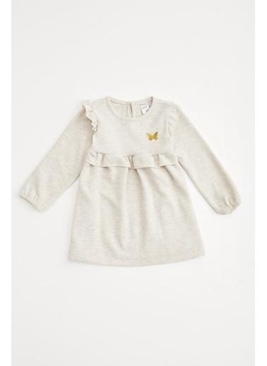 DeFacto Kız Bebek Nakış İşleme Elbise Bej